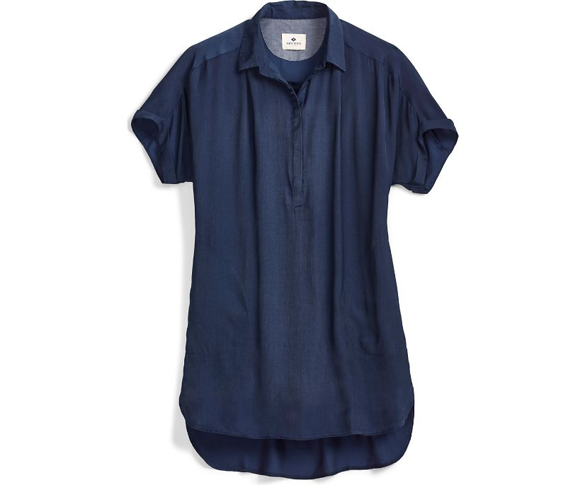 Popover Smock Dress, Navy, dynamic