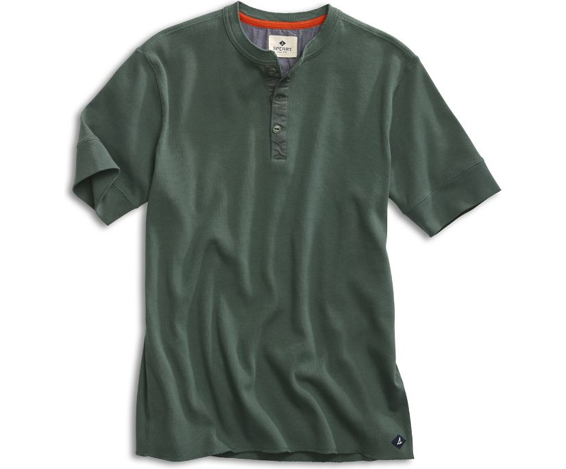 Short Sleeve Henley, Duck Green, dynamic