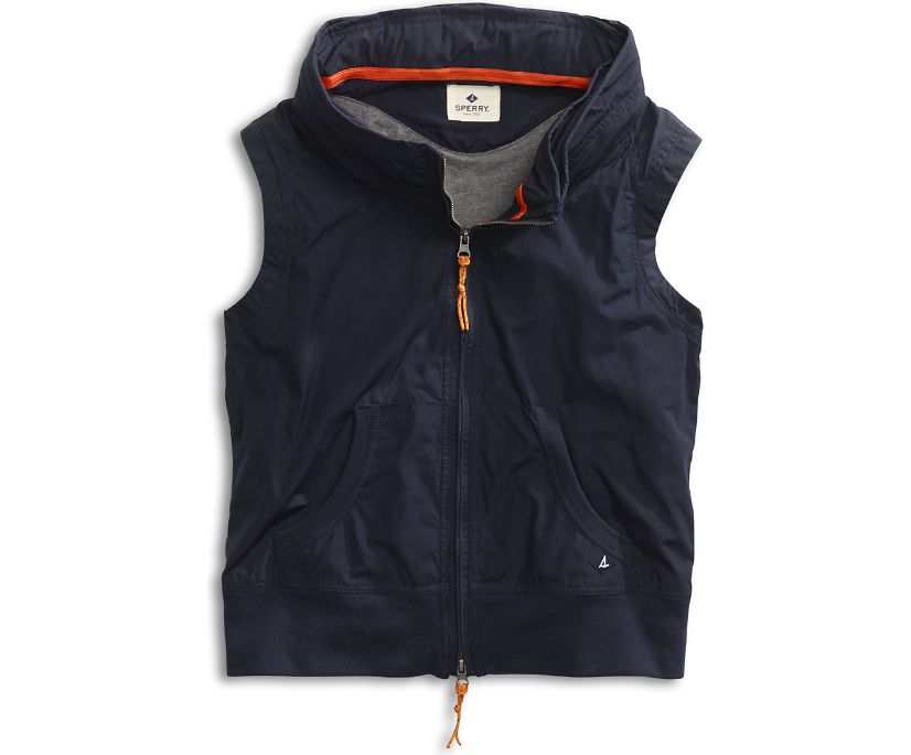 Hide-Away Hoodie Vest, Navy, dynamic