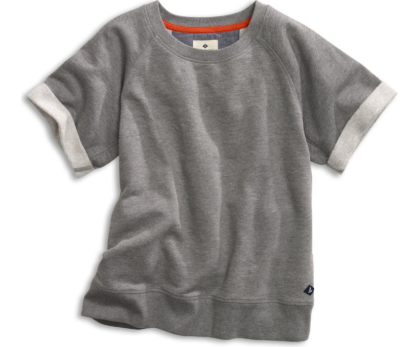 Short Sleeve Raglan Sweatshirt, Heather Grey, dynamic