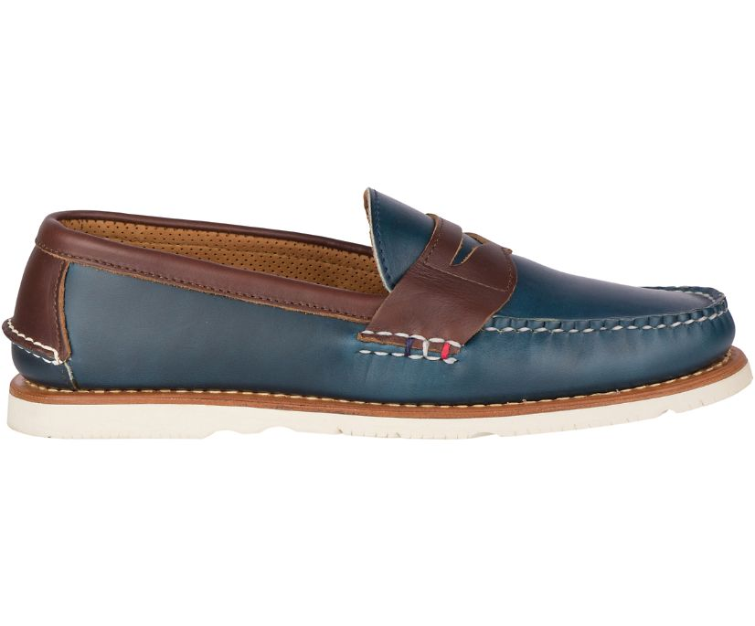Gold Cup Handcrafted in Maine Penny Loafer, Navy/Brown, dynamic