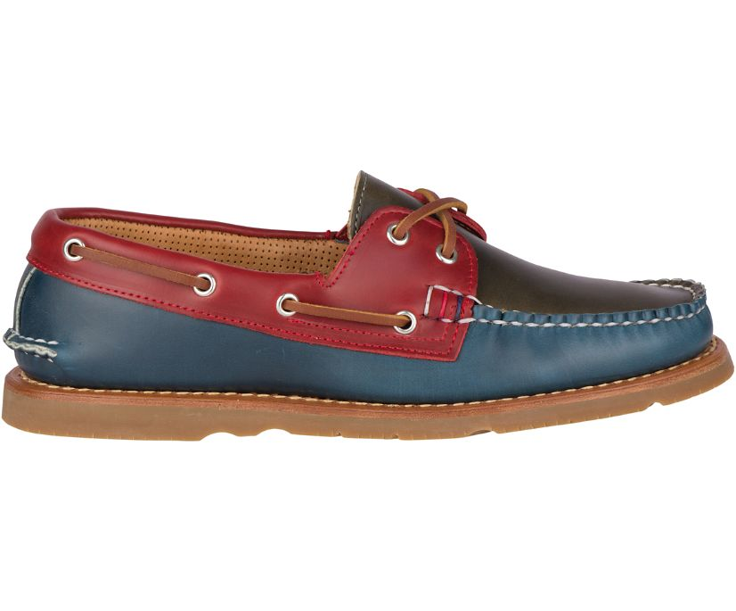 Gold Cup Handcrafted in Maine Authentic Original Tri-Tone Boat Shoe, Navy/Burgundy/Olive, dynamic
