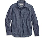 Printed Chambray Button Down Shirt, Navy, dynamic