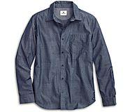 Printed Chambray Button Down Shirt, Navy, dynamic