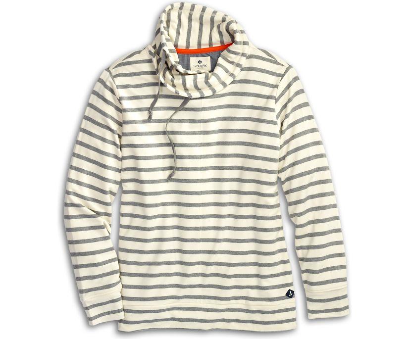 Funnel Neck Sweatshirt, Heather Grey/Ivory Stripe, dynamic