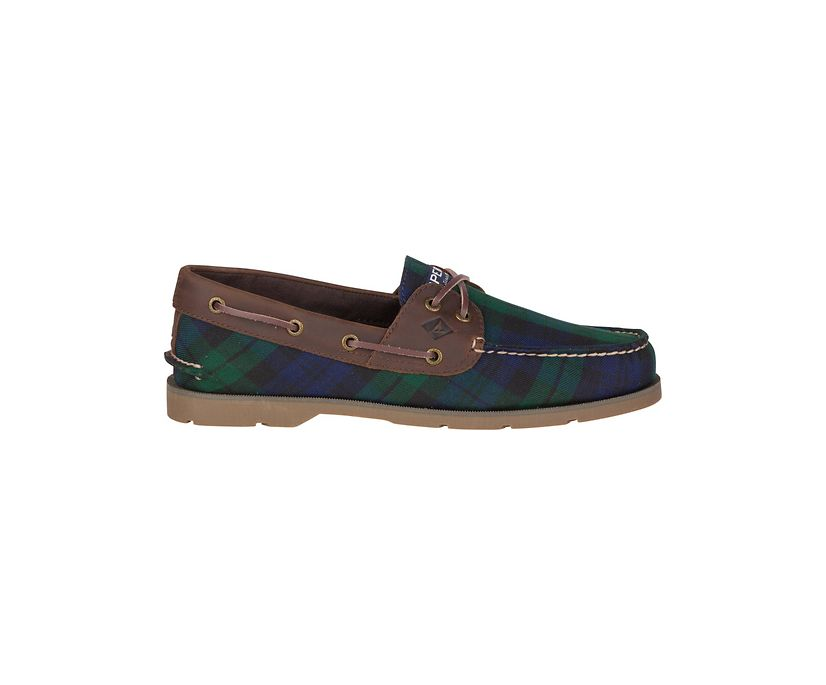 Leeward 2-Eye Cross Lace Boat Shoe, Blackwatch Plaid, dynamic