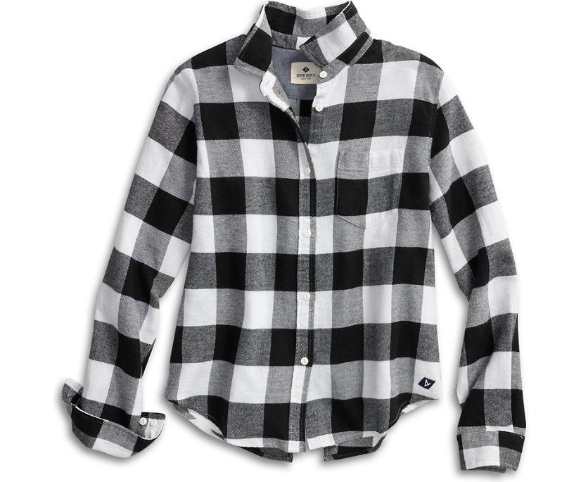 Buffalo Check Flannel Shirt, Black/White, dynamic