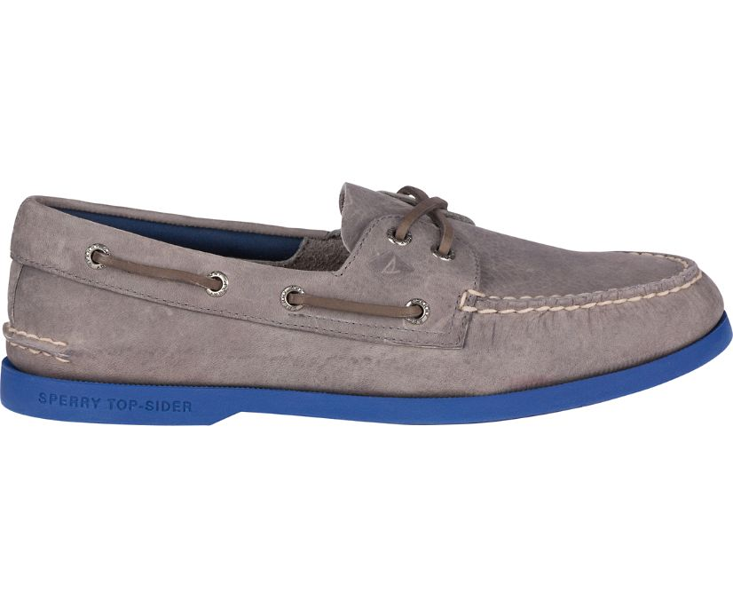 Sperry x vineyard vines Authentic Original Plush Boat Shoe, Grey/Blue, dynamic