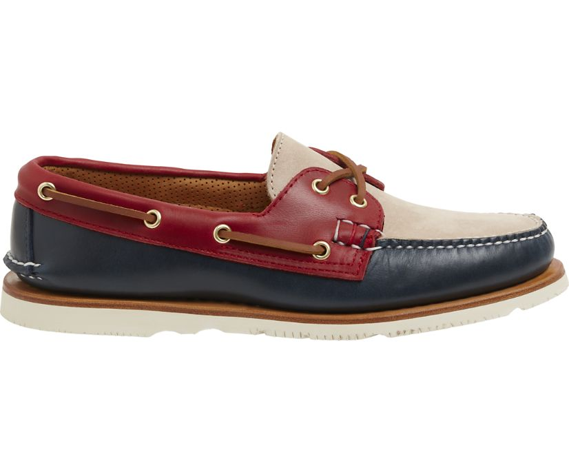 Gold Cup Handcrafted in Maine Authentic Original Tri-Tone Boat Shoe, Navy/Red/Ivory, dynamic