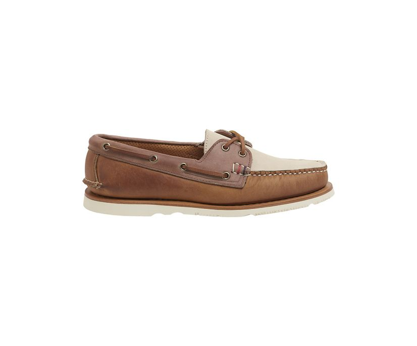 Gold Cup Handcrafted in Maine Authentic Original Tri-Tone Boat Shoe, Tan/Brown, dynamic