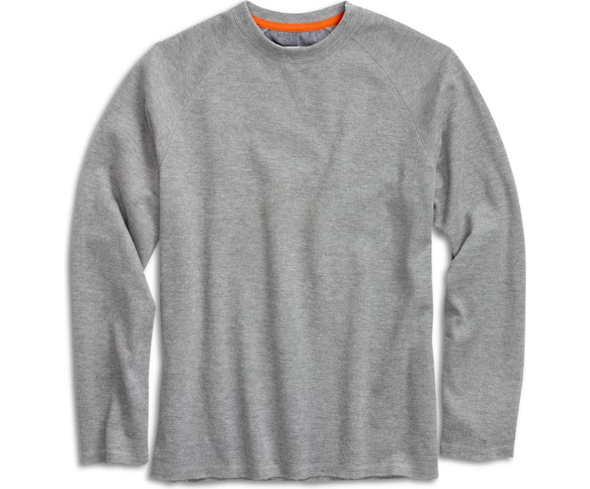 Raw Edge Crew Sweatshirt, Heather Grey, dynamic