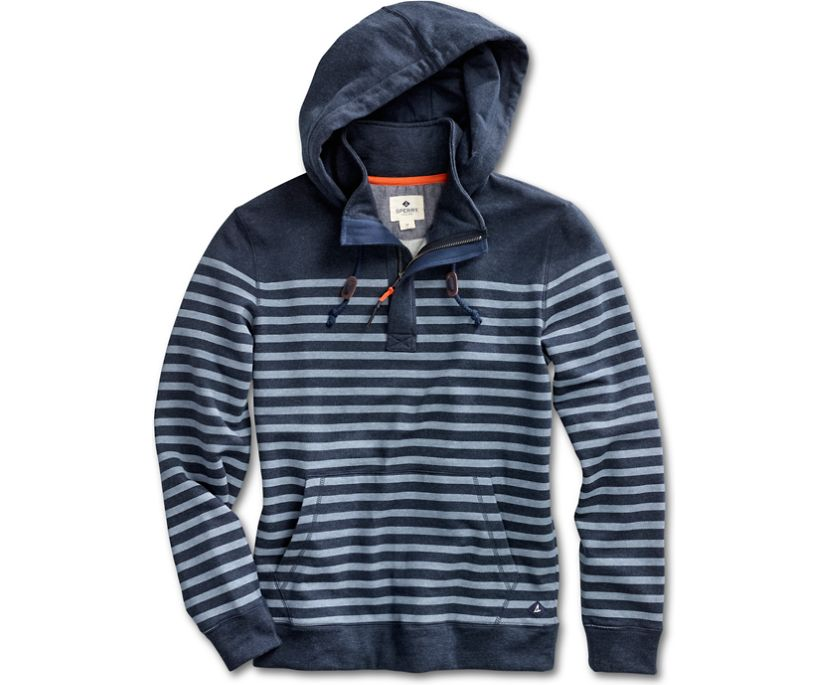 Indigo Brush Back Half-Zip Fleece, Indigo Stripe, dynamic