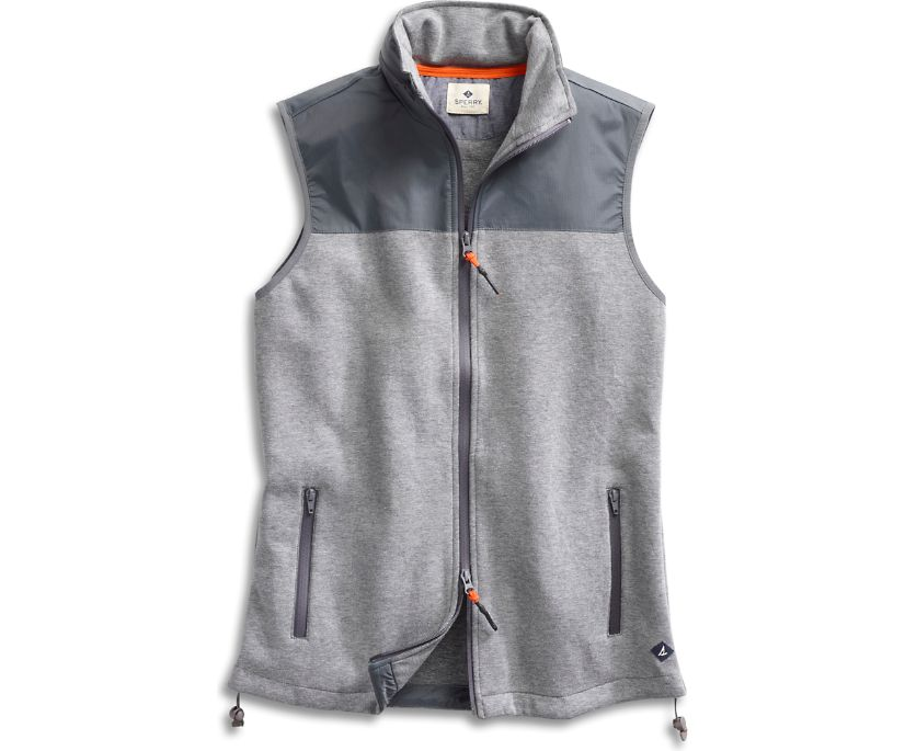Mixed Material Vest, Heather Grey, dynamic