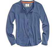 Button Front Thermal T-Shirt, Blue Indigo, dynamic