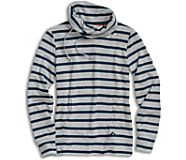 Funnel Neck Sweatshirt, Cardi Stripe Navy/Heather Grey, dynamic