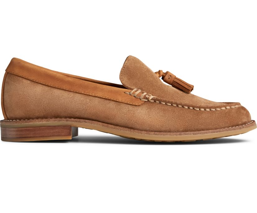 Topsfield Tassel Loafer, Brown Suede, dynamic