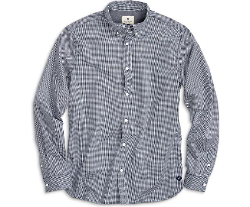 Micro Gingham Button Down Shirt, Blue, dynamic