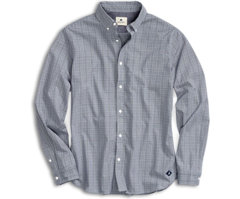 Micro Houndstooth Button Down Shirt, Navy, dynamic