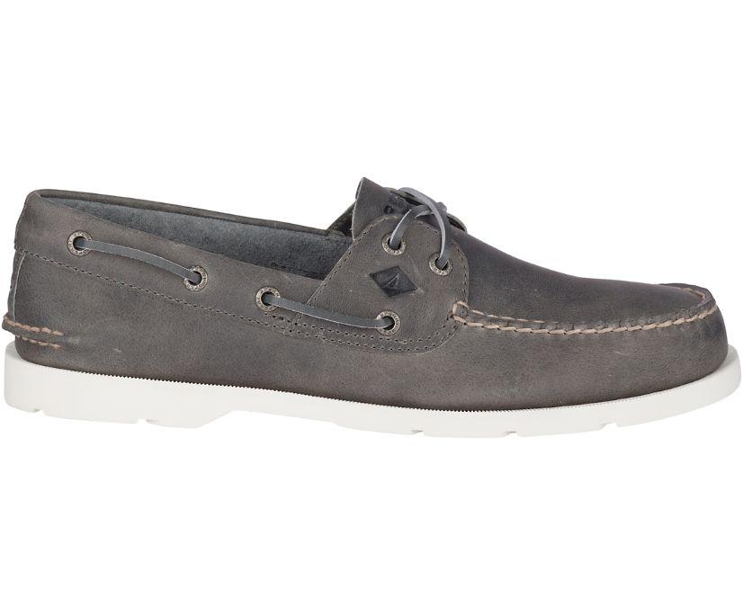 Leeward 2-Eye Cross Lace Leather Boat Shoe, Grey, dynamic