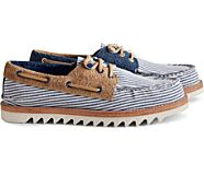 Cloud Authentic Original Seersucker 3-Eye Boat Shoe, Navy, dynamic
