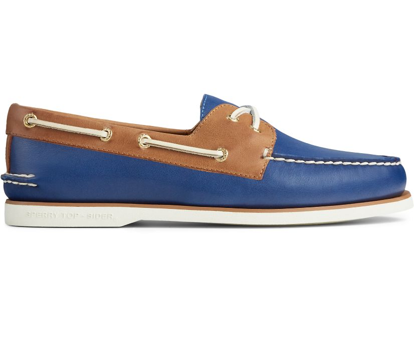 Gold Cup Authentic Original Cross Lace Boat Shoe, Blue/Tan, dynamic