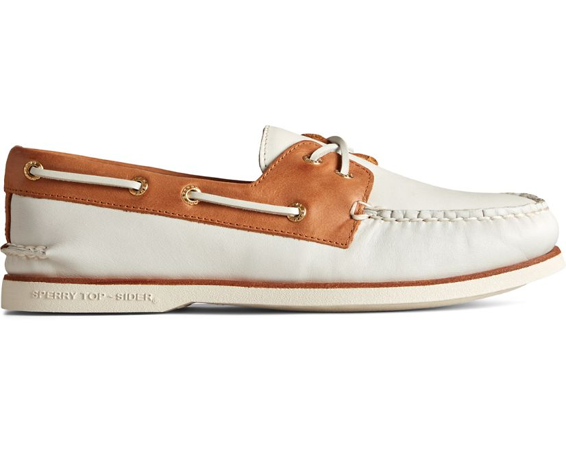 Gold Cup Authentic Original Cross Lace Boat Shoe, Ivory/Tan, dynamic