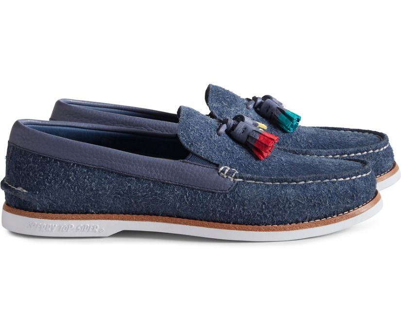Unisex Cloud Authentic Original Suede Tassel Loafer, Navy, dynamic