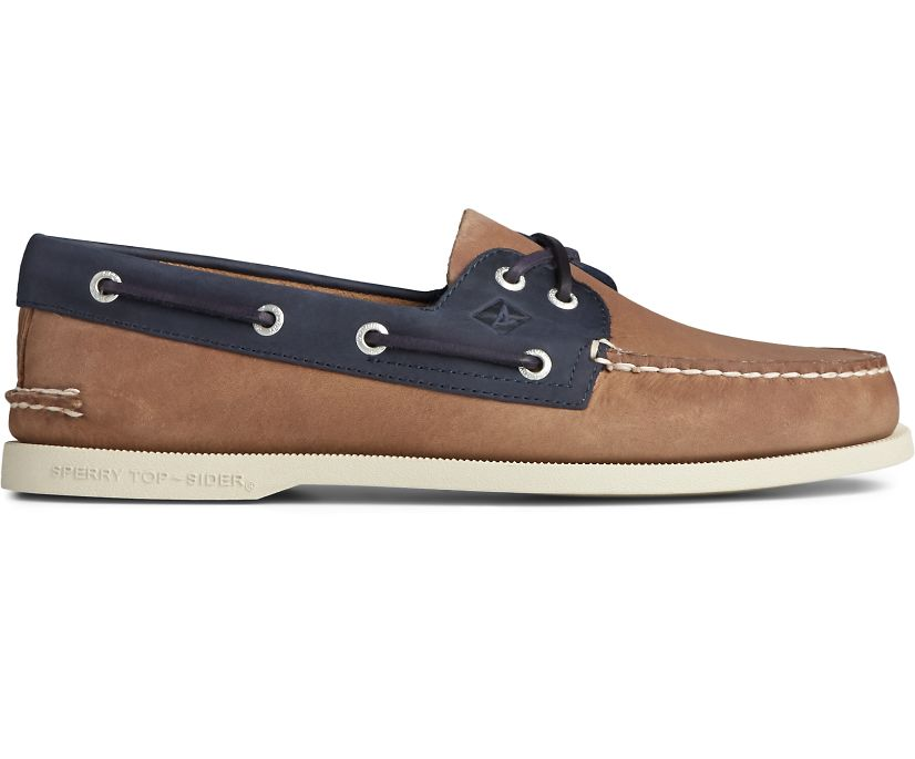 Authentic Original 2-Eye Wild Horse Boat Shoe, Tan/Navy, dynamic