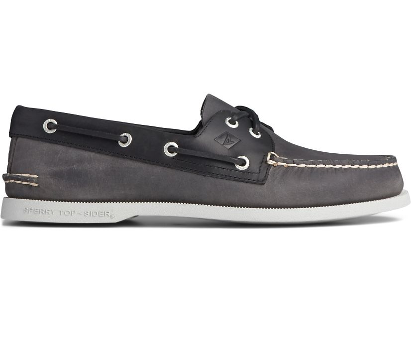 Authentic Original 2-Eye Wild Horse Boat Shoe, Grey/Black, dynamic