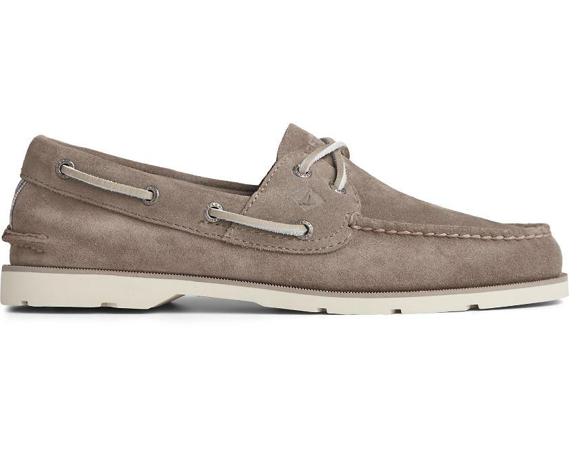 Leeward 2-Eye Suede Boat Shoe, Grey, dynamic