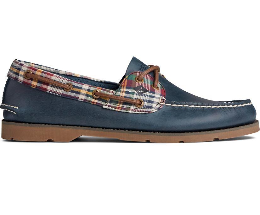 Leeward 2-Eye Two Tone Boat Shoe, Navy Plaid, dynamic