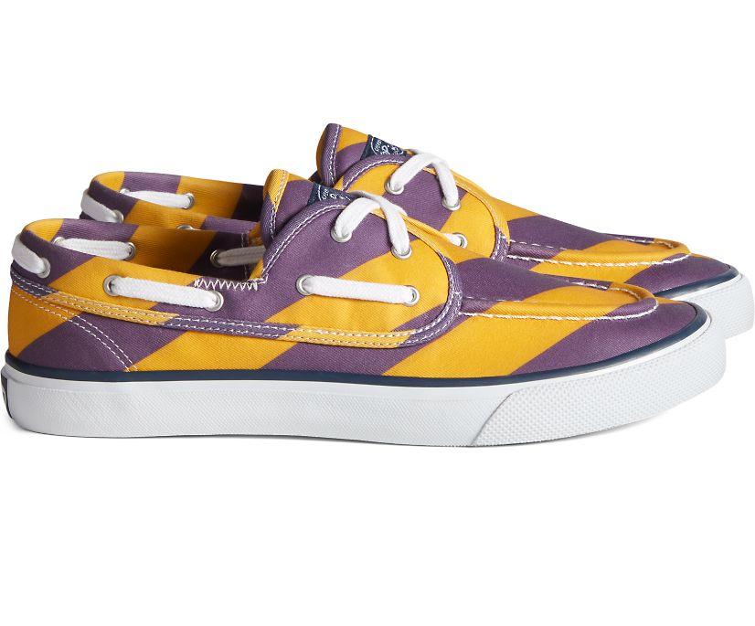 Unisex Sperry x Rowing Blazers Seamate 2-Eye Rugby Stripe Sneaker, Purple/Yellow, dynamic