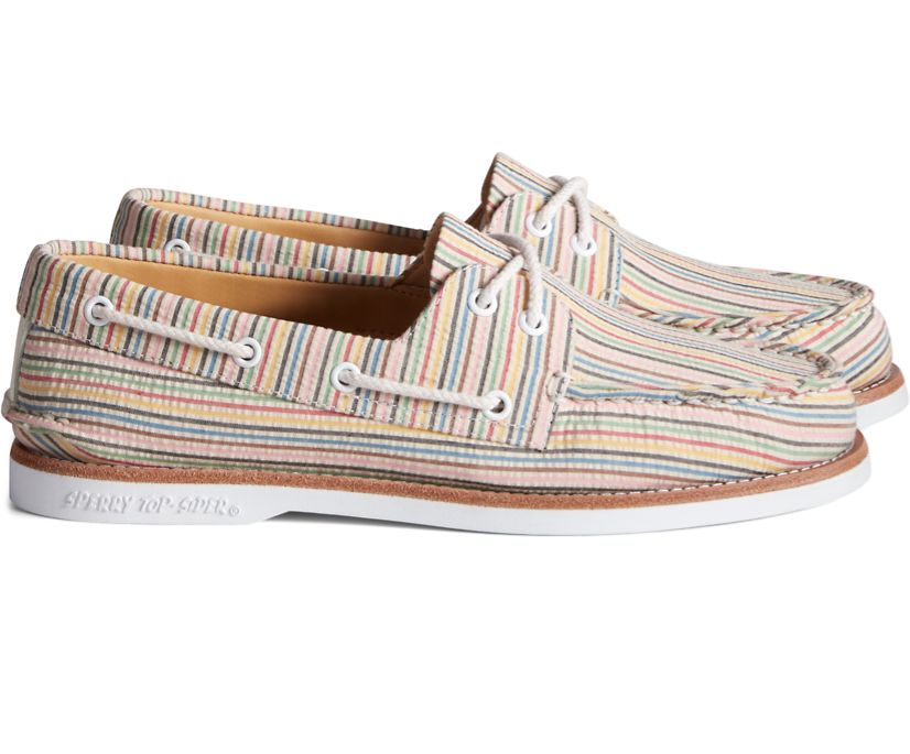 Unisex Sperry x Rowing Blazers Authentic Original 2-Eye Croquet Seersucker Boat Shoe, Multi, dynamic