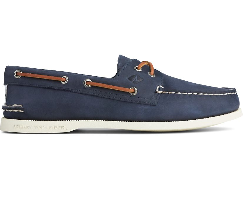 Authentic Original Cross Lace Seersucker Boat Shoe, Navy, dynamic