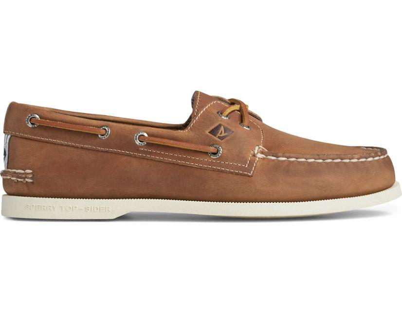Authentic Original Cross Lace Seersucker Boat Shoe, Tan, dynamic
