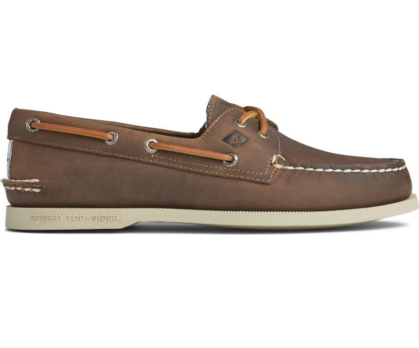 Authentic Original Cross Lace Seersucker Boat Shoe, Brown, dynamic