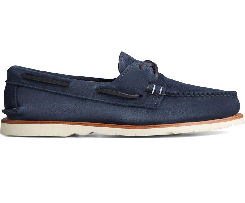 Sunspel x Sperry Authentic Original 2-Eye Suede Boat Shoe, Navy, dynamic