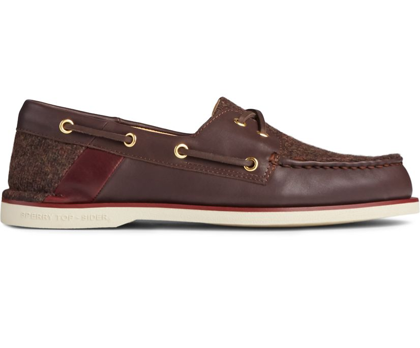 Gold Cup Authentic Original Cross Lace Tweed Boat Shoe, Brown, dynamic