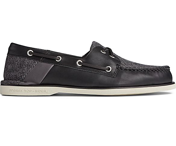 Gold Cup Authentic Original Cross Lace Tweed Boat Shoe, Black, dynamic