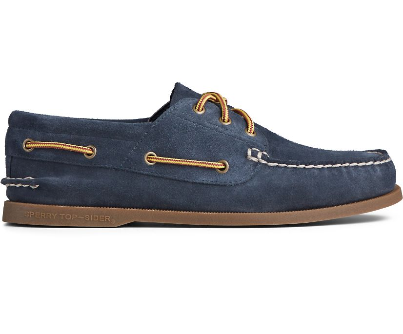 Authentic Original Suede Boot Lace Boat Shoe, Navy/Gum, dynamic