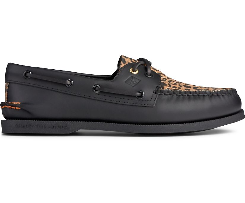 Authentic Original 2-Eye Cheetah Boat Shoe, Black, dynamic