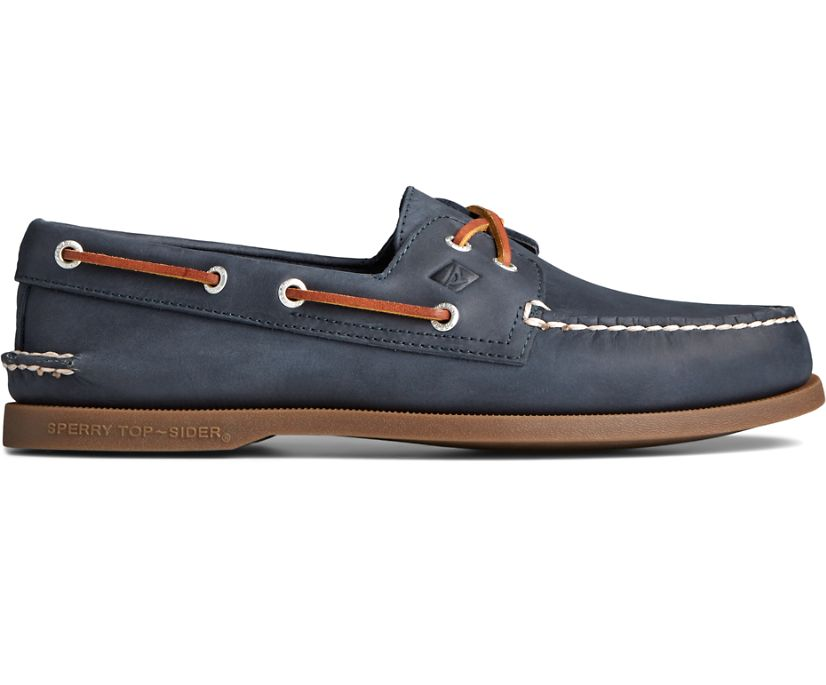 Authentic Original Cross Lace Collegiate Boat Shoe, Navy, dynamic