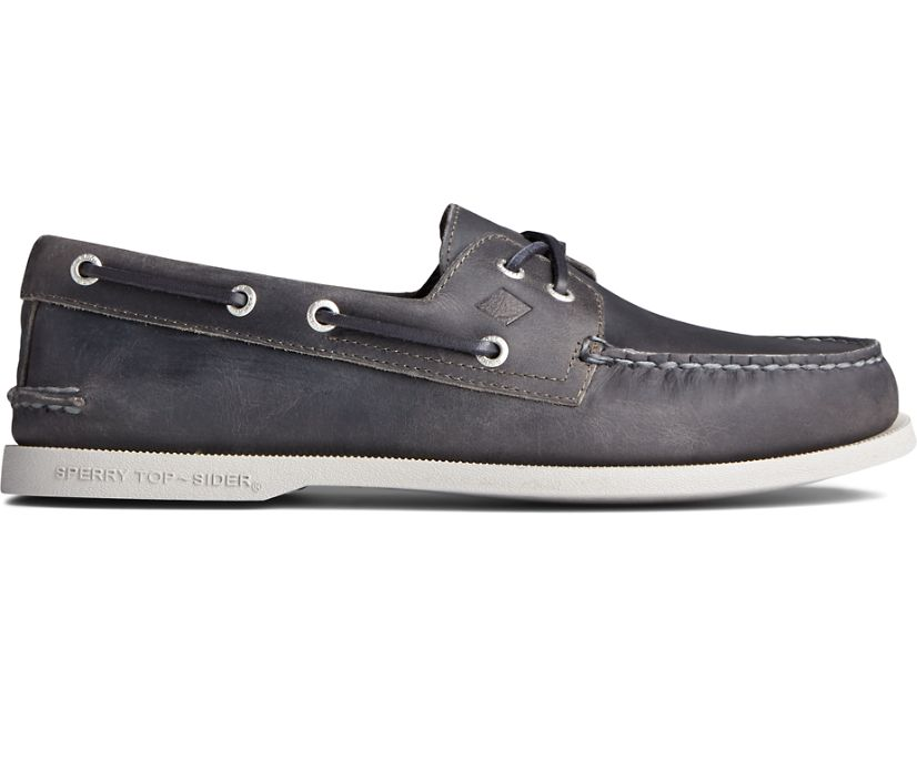 Authentic Original Cross Lace Collegiate Boat Shoe, Grey, dynamic