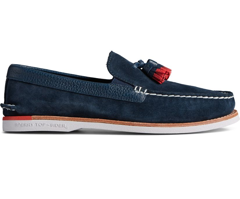 Authentic Original Tassel Loafer, Navy/Red, dynamic