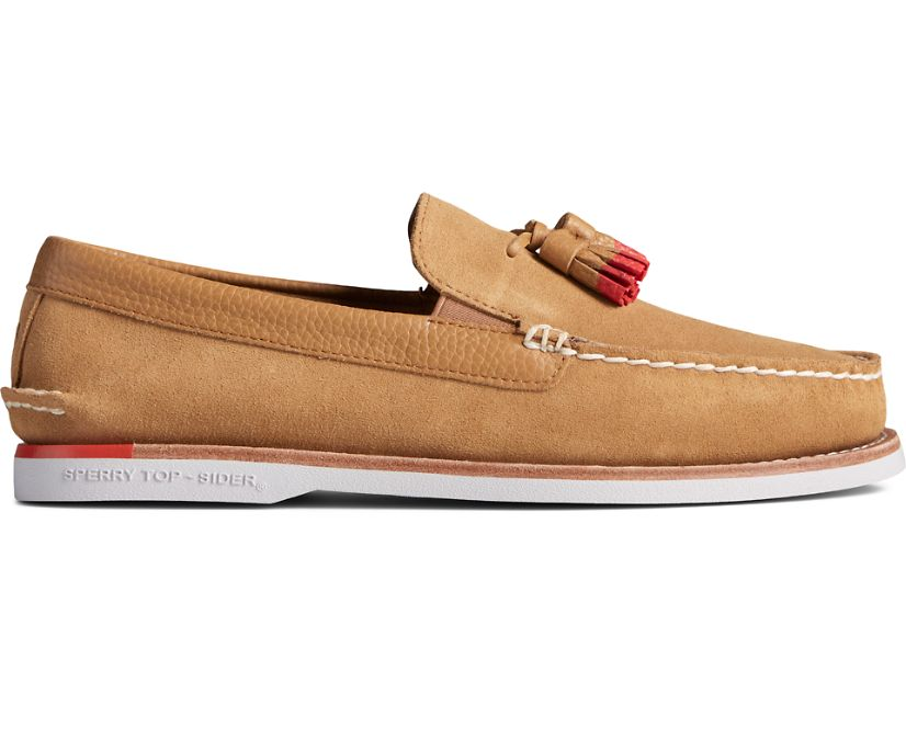 Authentic Original Tassel Loafer, Tan/Red, dynamic