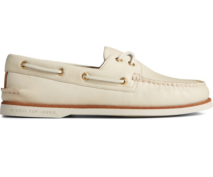 Gold Cup Authentic Original 2-Eye Soft Leather Boat Shoe, Cream, dynamic