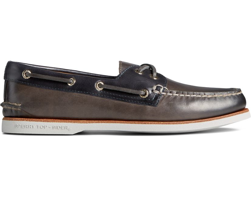 Gold Cup Authentic Original 2-Eye Burnished Leather Boat Shoe, Grey/Navy, dynamic