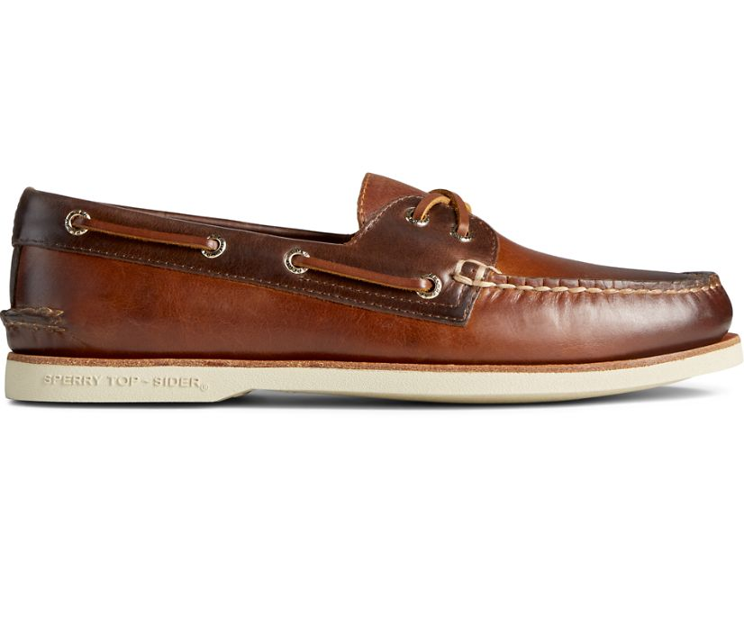 Gold Cup Authentic Original 2-Eye Burnished Leather Boat Shoe, Tan/Brown, dynamic