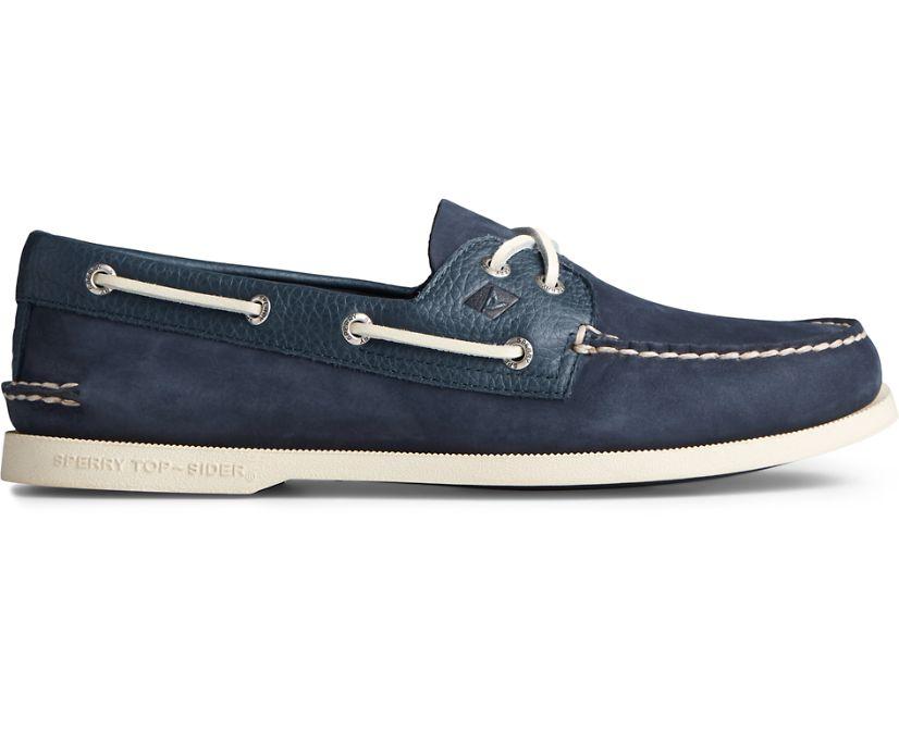 Authentic Original 2-Eye Tumbled Leather Nubuck Boat Shoe, Navy, dynamic