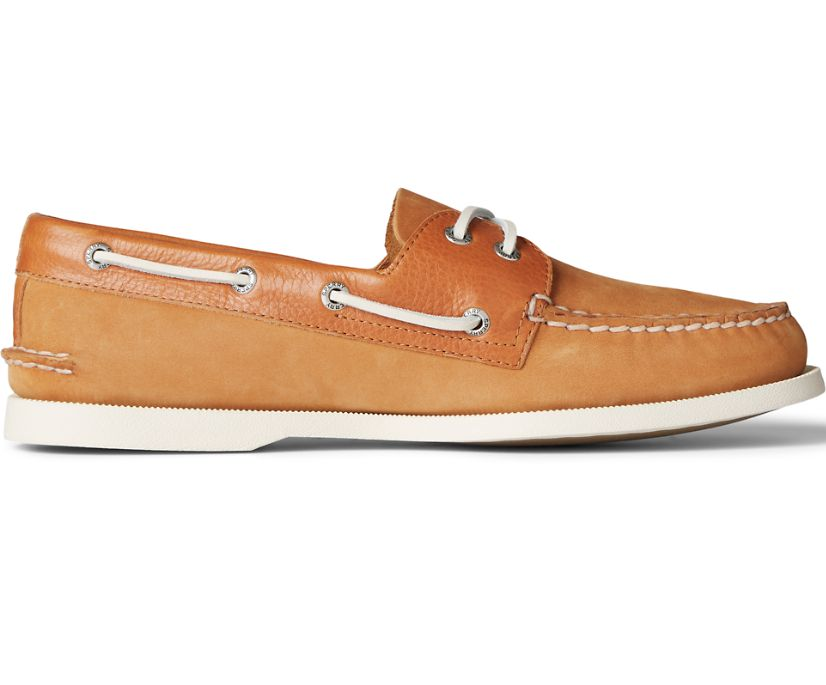 Authentic Original 2-Eye Tumbled Leather Nubuck Boat Shoe, Tan, dynamic